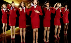 Virgin Atlantic crew uniform in magazine cover shoot