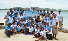 Digicel Fiji 7s celebrate win on Plantation Island