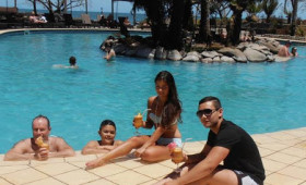 Everything ship shape in Fiji as families sun themselves by the pool after Cyclone Evan
