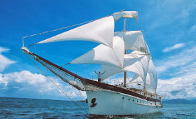 Captain Cook Cruises RaMarama back visiting Tivua Island